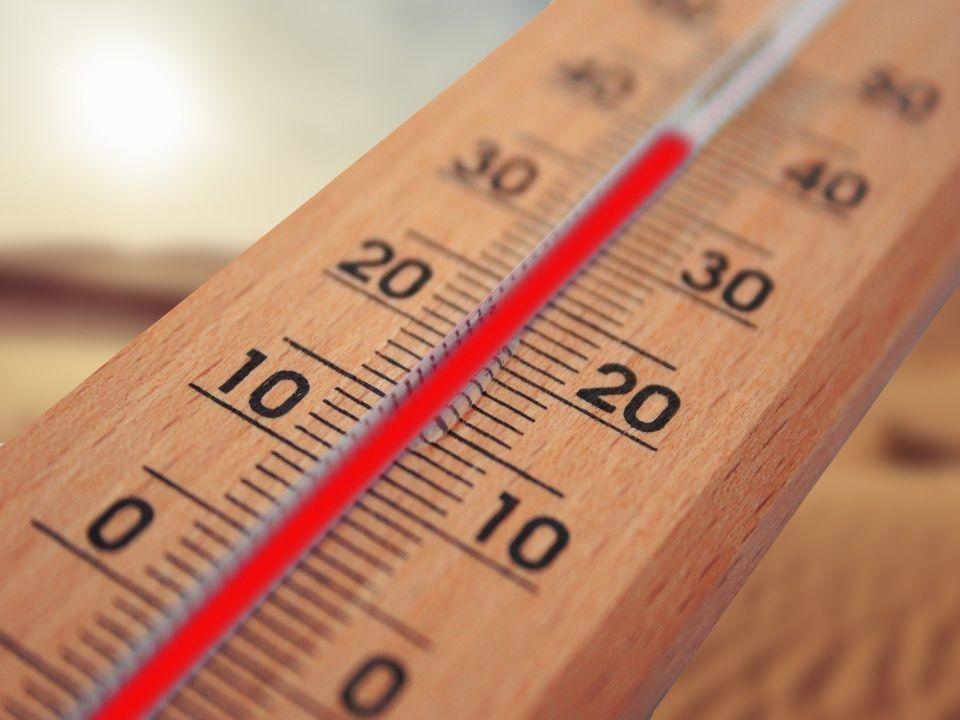 Nahaufnahme eines Thermometers, das 40 Grad Celsius anzeigt